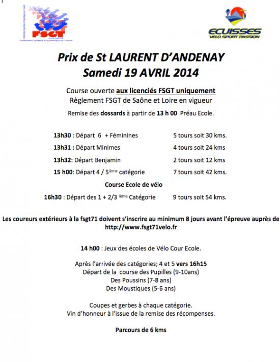 Prix de Saint Laurent d'Andenay 2014