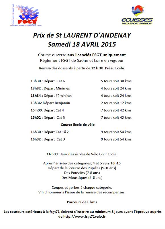 Prix de Saint Laurent d Andenay 2015